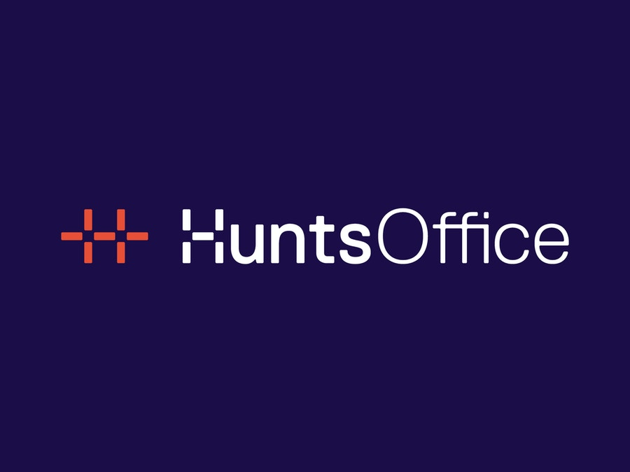"Logo that reads ""Hunts Office"" in white type on a blue background."