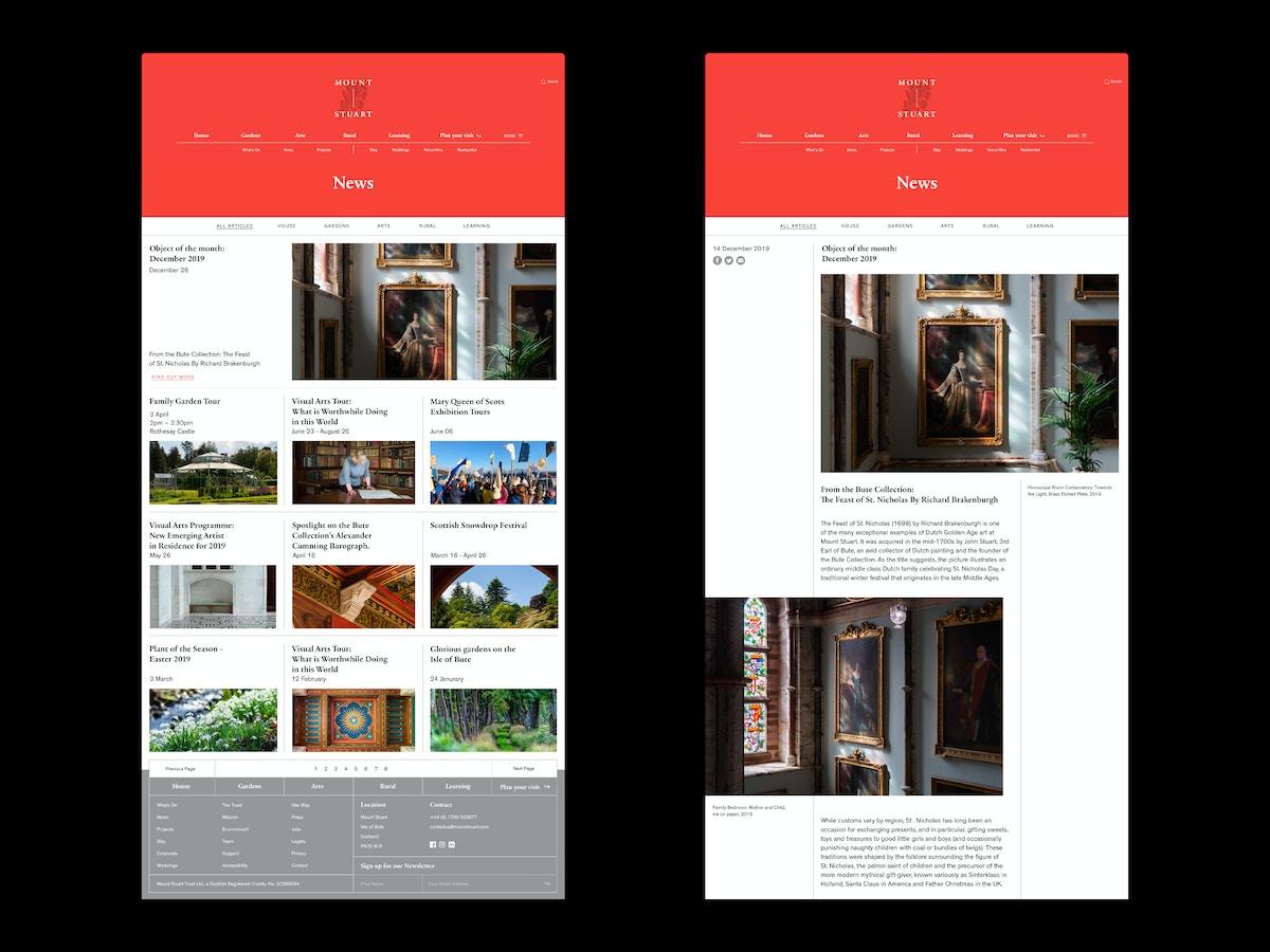 Mockups of digital web pages for Mount Stuart.
