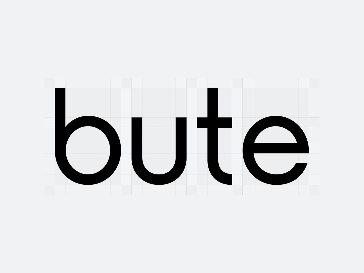 "Text that reads ""bute"" set in black, lowercase letters."