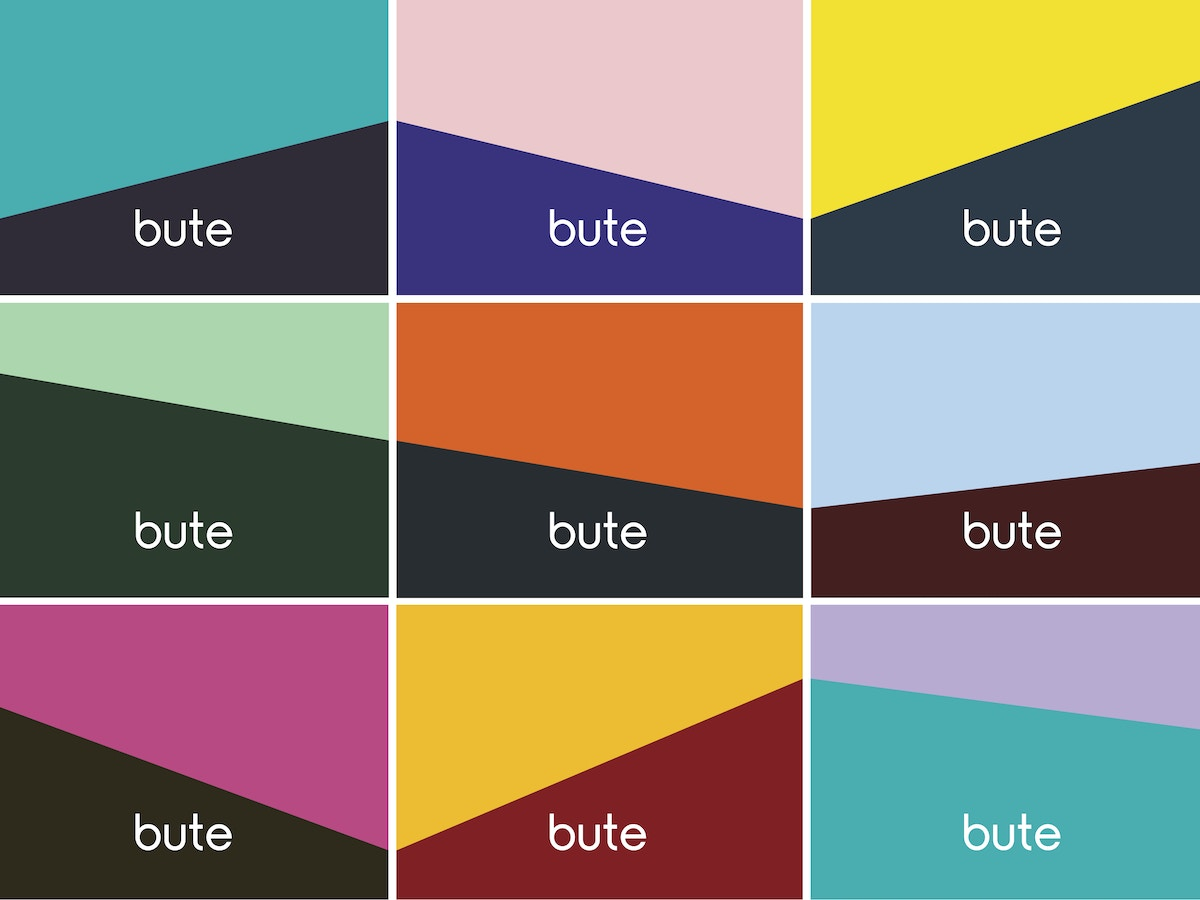"Nine rectangles with angular shapes made from multiple colours. There is text that reads ""bute"" in white lettering on each rectangle."