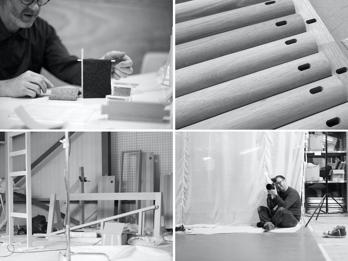A grid of four in black and white. Showing a scale model, a close up of some wooden dowels, a large set and a photographer.