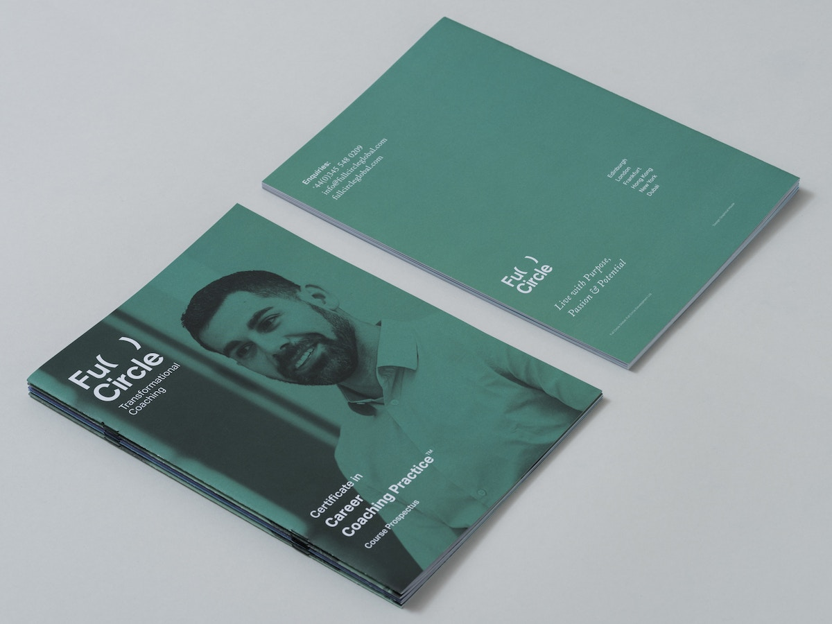 Full Circle print brochure in green. There is a smiling man on the cover.