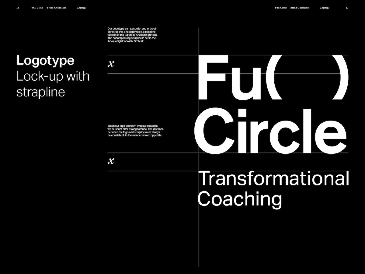 A spread that shows the logo for Full Circle. White text on black background.