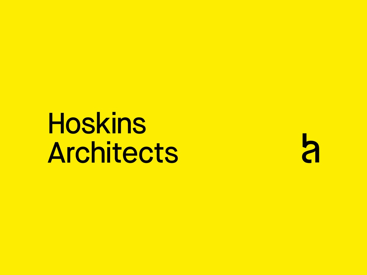 """Text that reads """"Hoskins Architects"""" in black on a yellow background."""