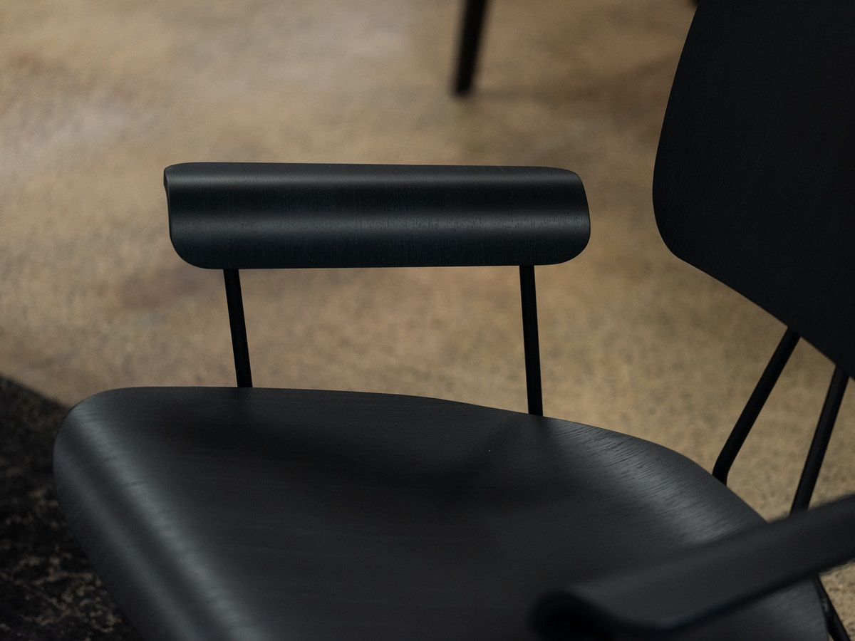 A black leather office chair.