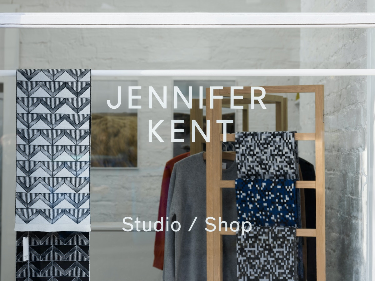 """A shop front with white vinyl on the window that reads """"Jennifer Kent, Studio/Shop"""""""