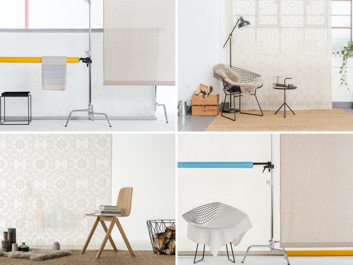 A grid of four that shows different set ups of furniture mixed with lace fabric.