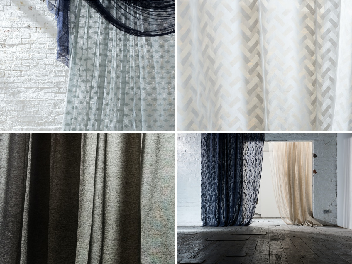 A grid of four showing different variations of lace fabric.